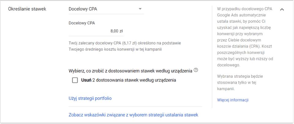 Panel Google Ads - Docelowy CPA