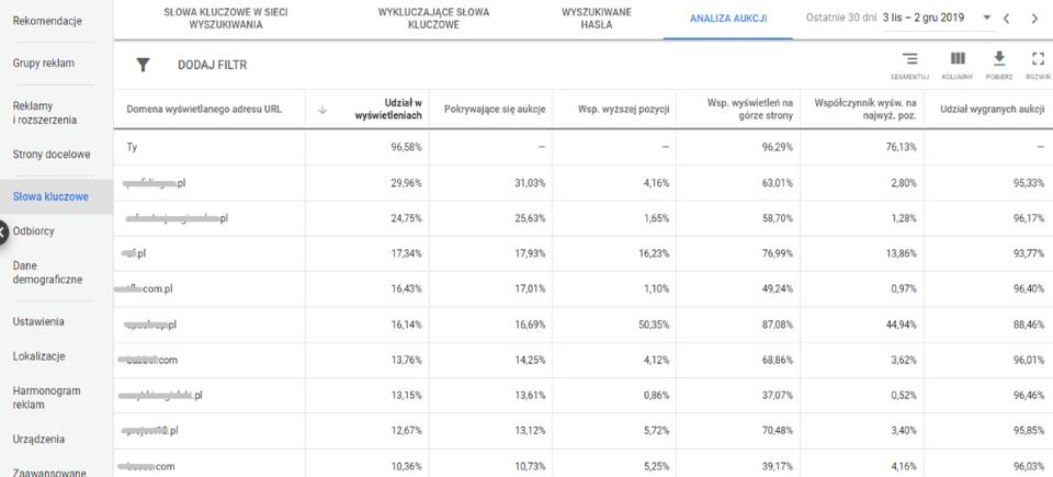 Panel Google Ads - Raport analizy aukcji